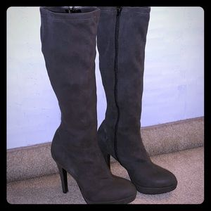 Aldo Platform Knee-High Gray Boots